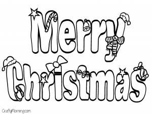 300x225 Merry Christmas Printable Coloring Pages Happy Holidays!
