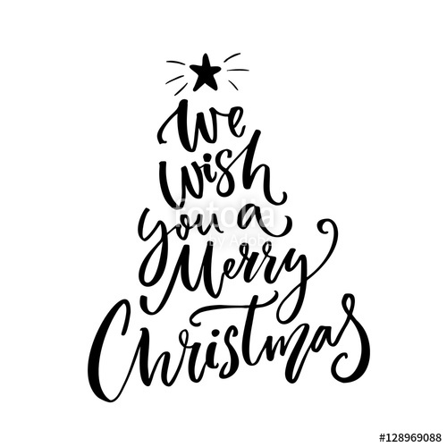 500x500 We Wish You A Merry Christmas Typography. Greeting Card Text