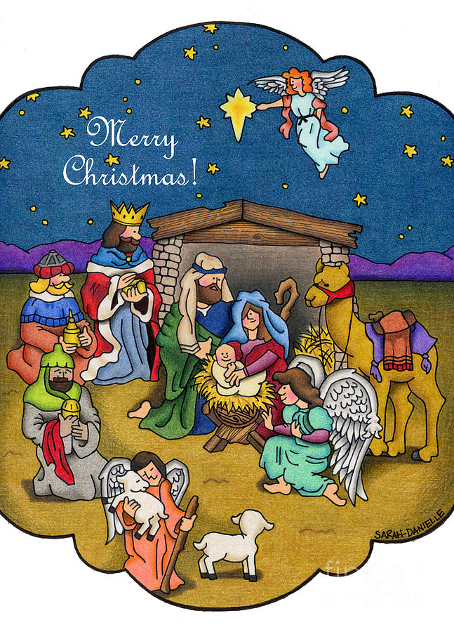 647x900 A Nativity Scene Merry Christmas Cards Drawing By Sarah Batalka