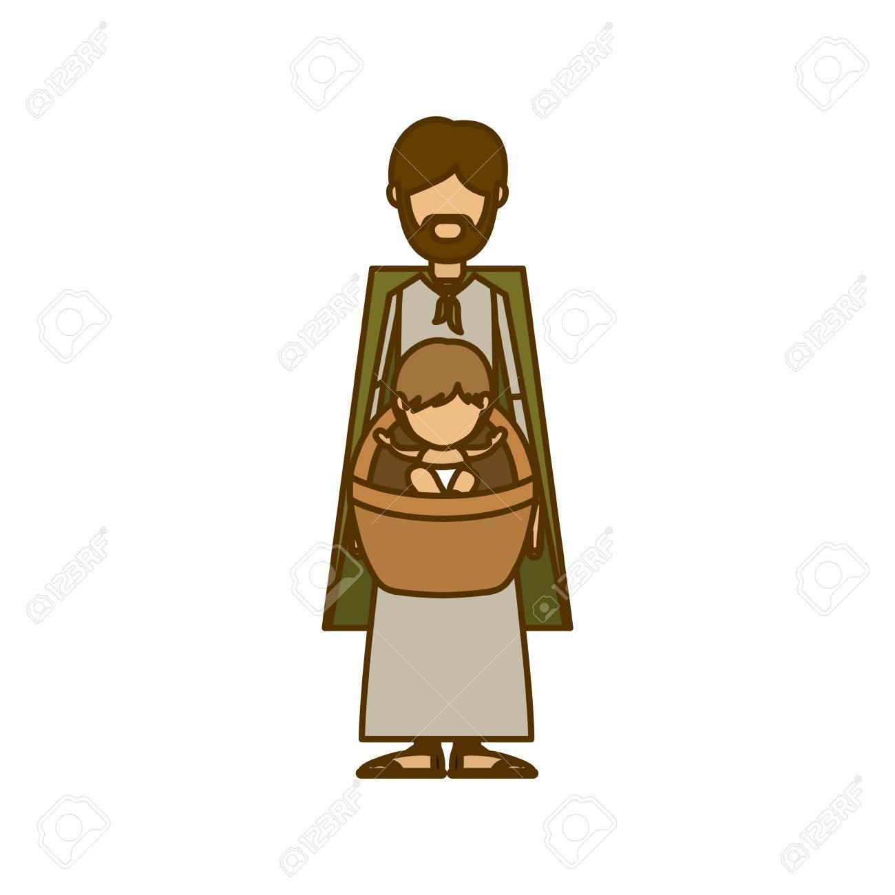 1300x1300 Holy Joseph And Baby Jesus Icon. Nativity Merry Christmas Season