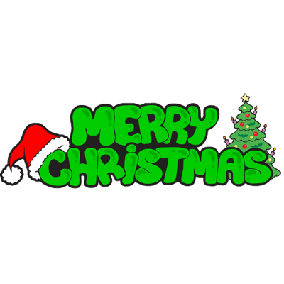 400x400 Merry Christmas Green Text Transparent Png