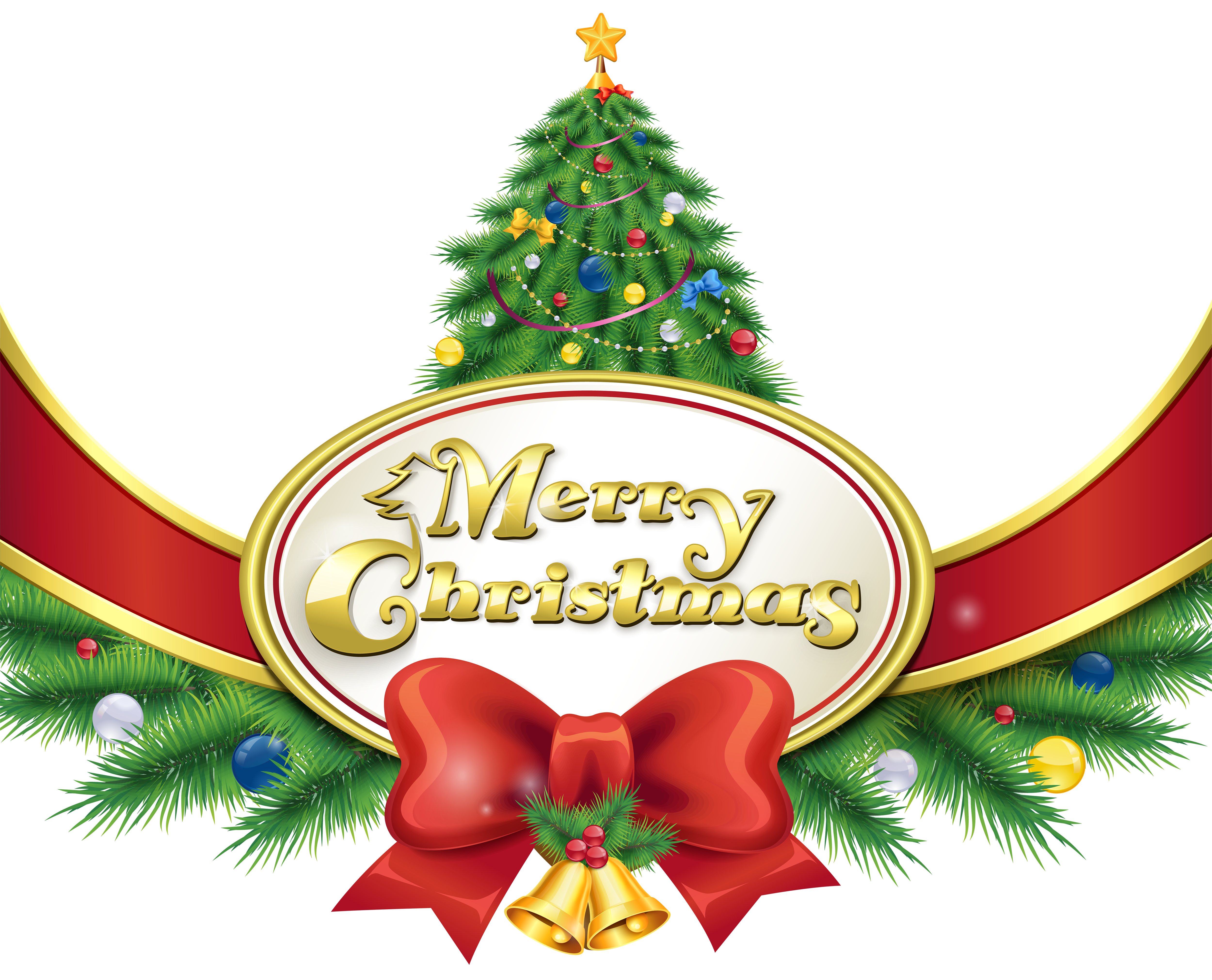 5000x4046 Merry Christmas With Tree And Bow Png Clipart Imageu200b Gallery