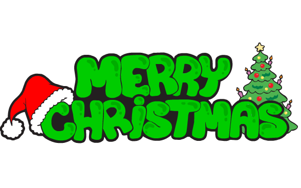 588x367 Merry Christmas Green Text Transparent Png