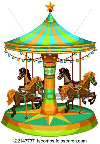 327x470 Clip Art Of A Merry Go Round Ride K22147737
