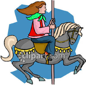 300x296 Girl Riding A Merry Go Round Horse