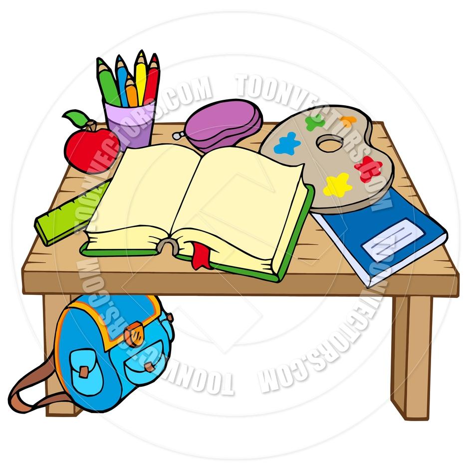 940x940 Cartoon School Desk By Clairev Toon Vectors Eps