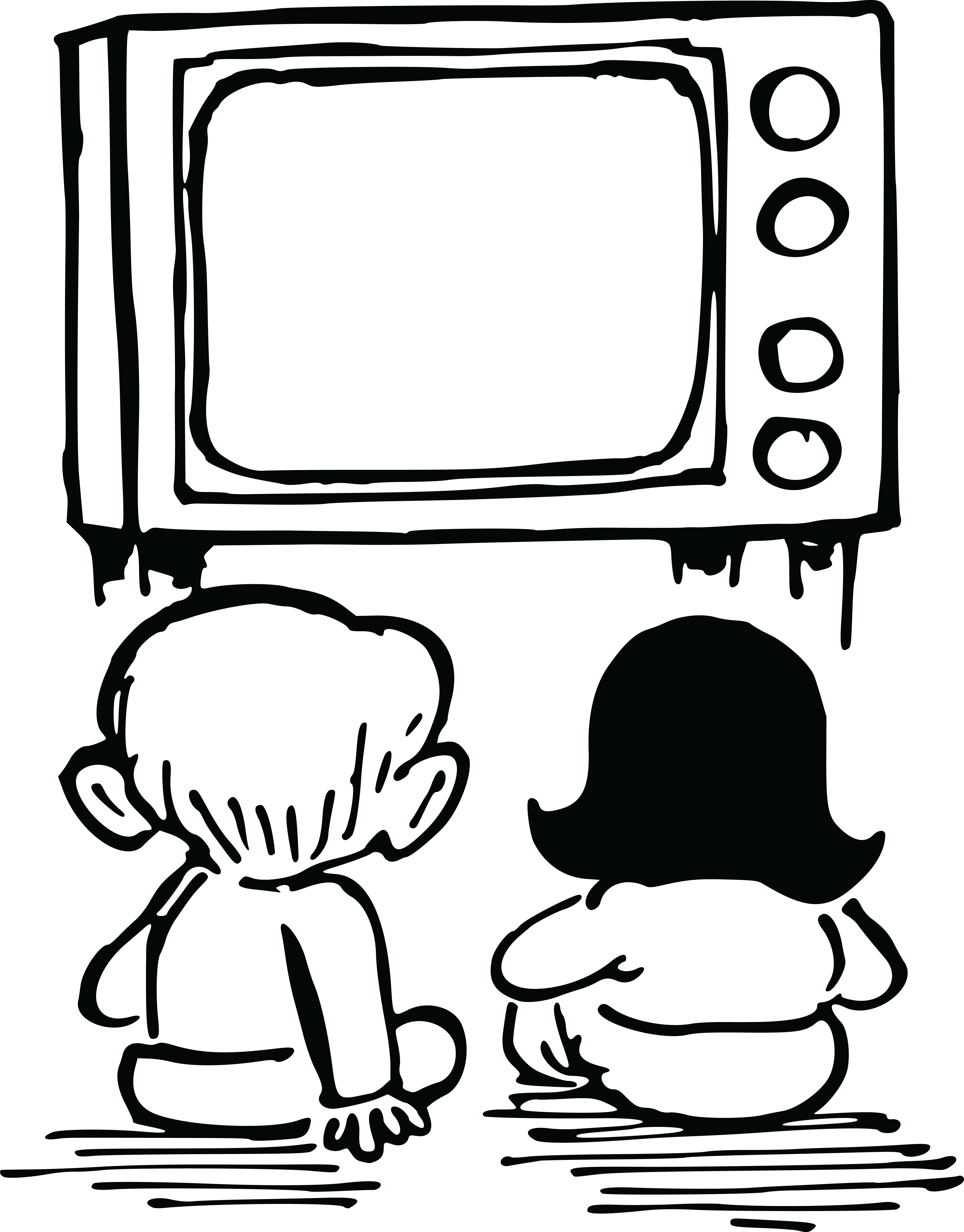 4000x5114 Free Clipart Of Kids Watching Tv