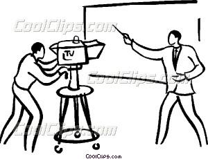 300x230 Reporter Doing A Broadcast Vector Clip Art