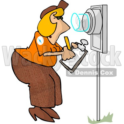 400x400 Meter Reader Writing Down Electricity Usage Clipart Picture