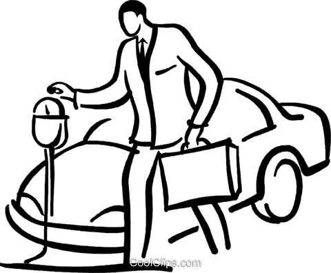 480x396 Man Putting Money Into A Parking Meter Royalty Free Vector Clip