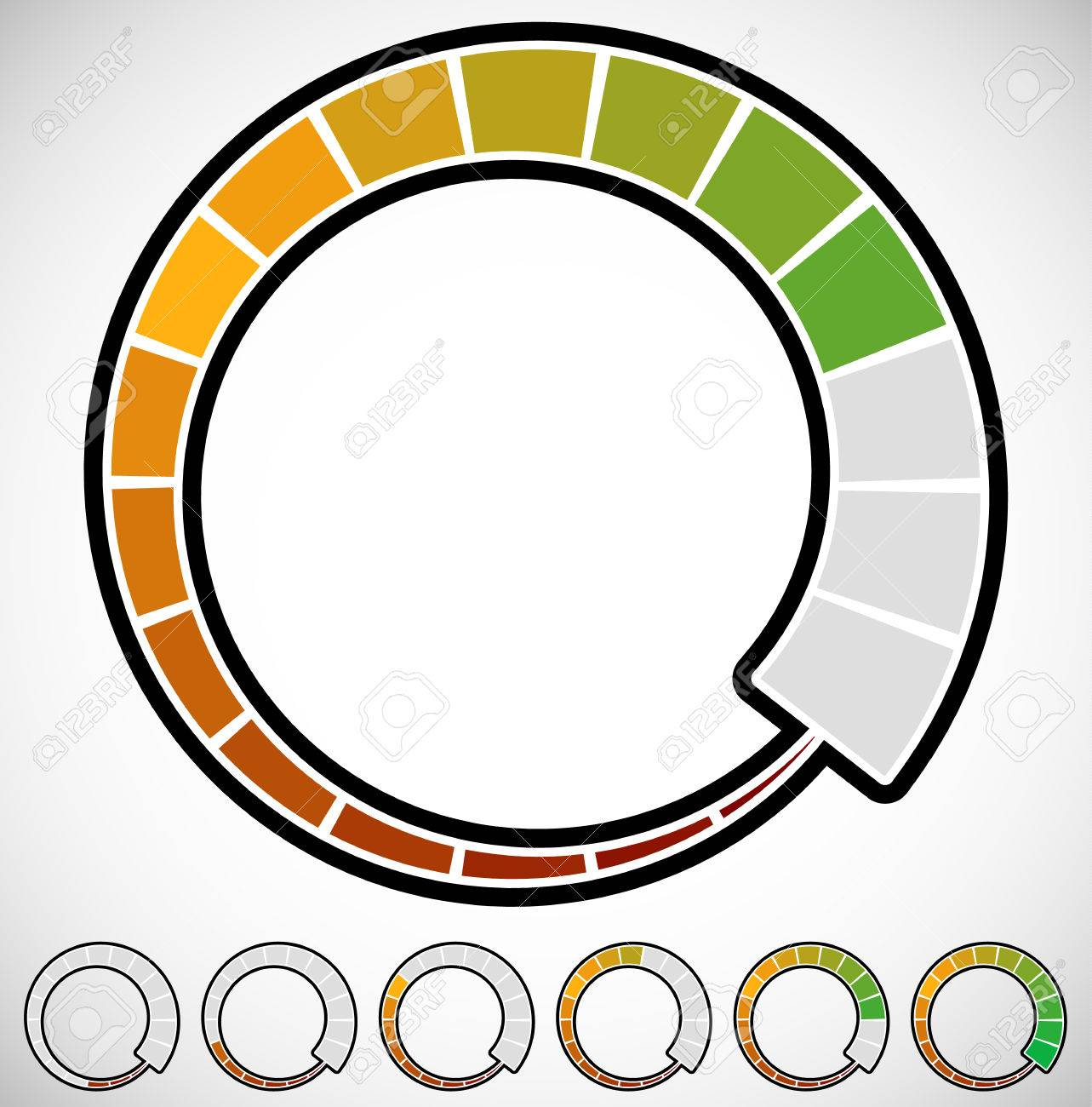1283x1300 Vector Illustration Of Rounded Progress Indicator, Meter Element