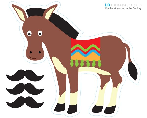 600x480 Free Pin The Mustache On The Donkey! Mexican Birthday Party