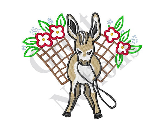 570x456 Mexican Burro Machine Embroidery Design