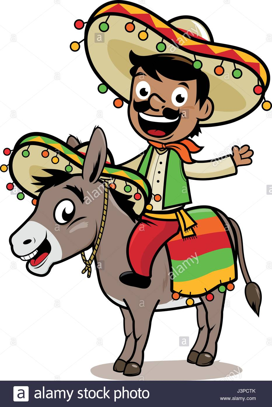 932x1390 Mexican Man Riding A Donkey Stock Vector Art Amp Illustration