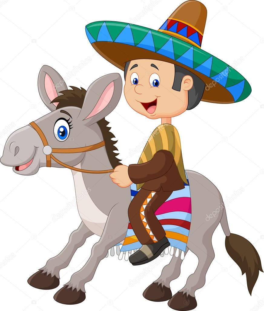 872x1024 Mexican Men Riding A Donkey Isolated On White Background Stock