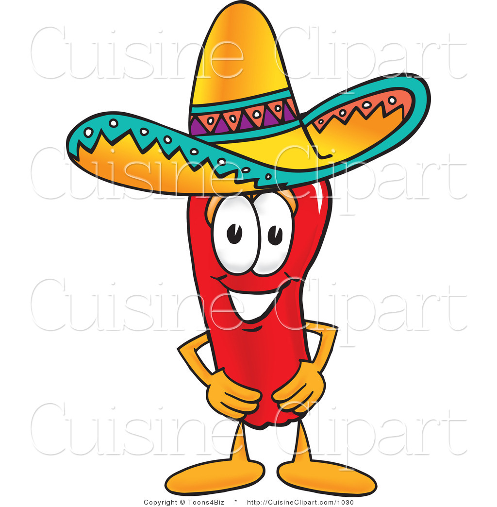 1024x1044 Cuisine Clipart Of A Mexican Chili Pepper Wearing A Sombrero Hat