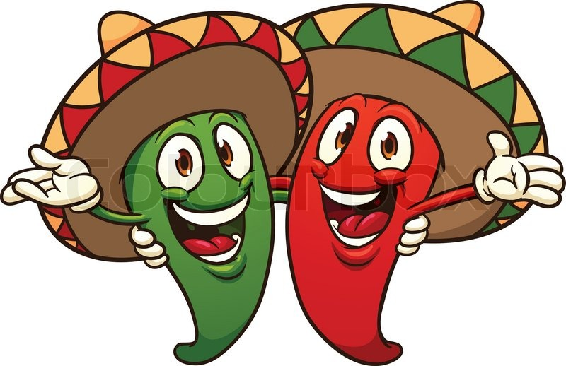 800x518 Happy Cartoon Chili Peppers Wearing Sombreros Stock Vector