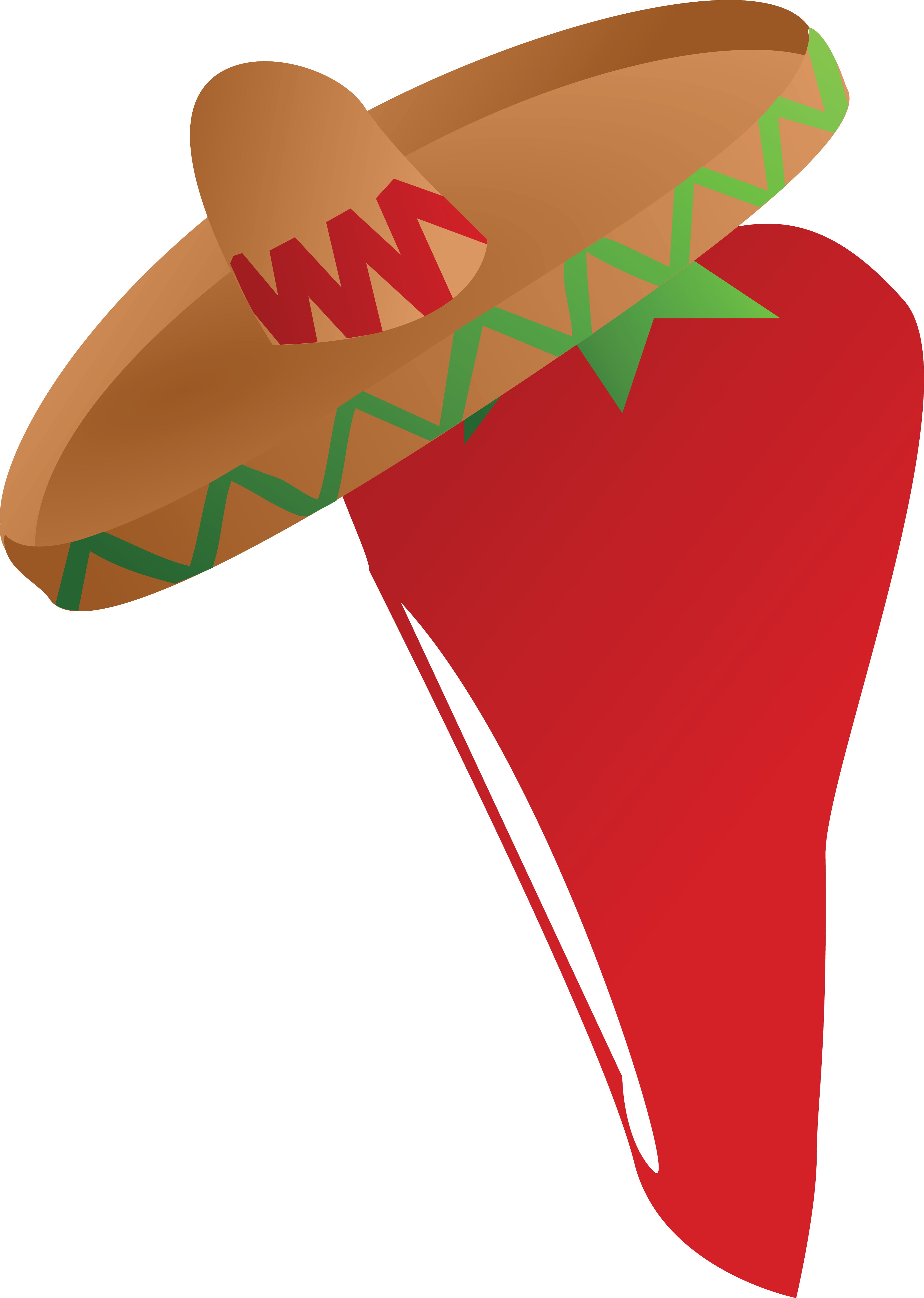 4000x5620 Mexican Chili Pepper Wearing A Sombrero Hat Clipart
