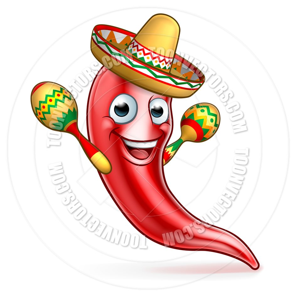 940x940 Mexican Chili Pepper With Maracas And Sombrero By Geoimages Toon