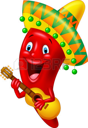 311x450 Mexican Hot Chili Pepper Incendiary Plays Guitar Royalty Free