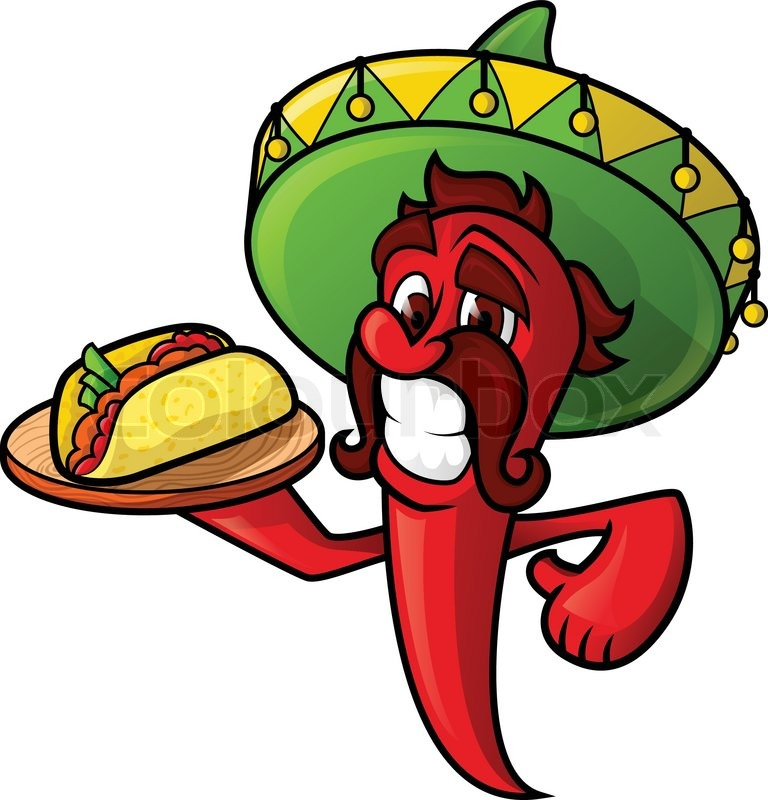768x800 Mexican Pepper Holds A Tray Of Tacos. Cheerful Character Chili