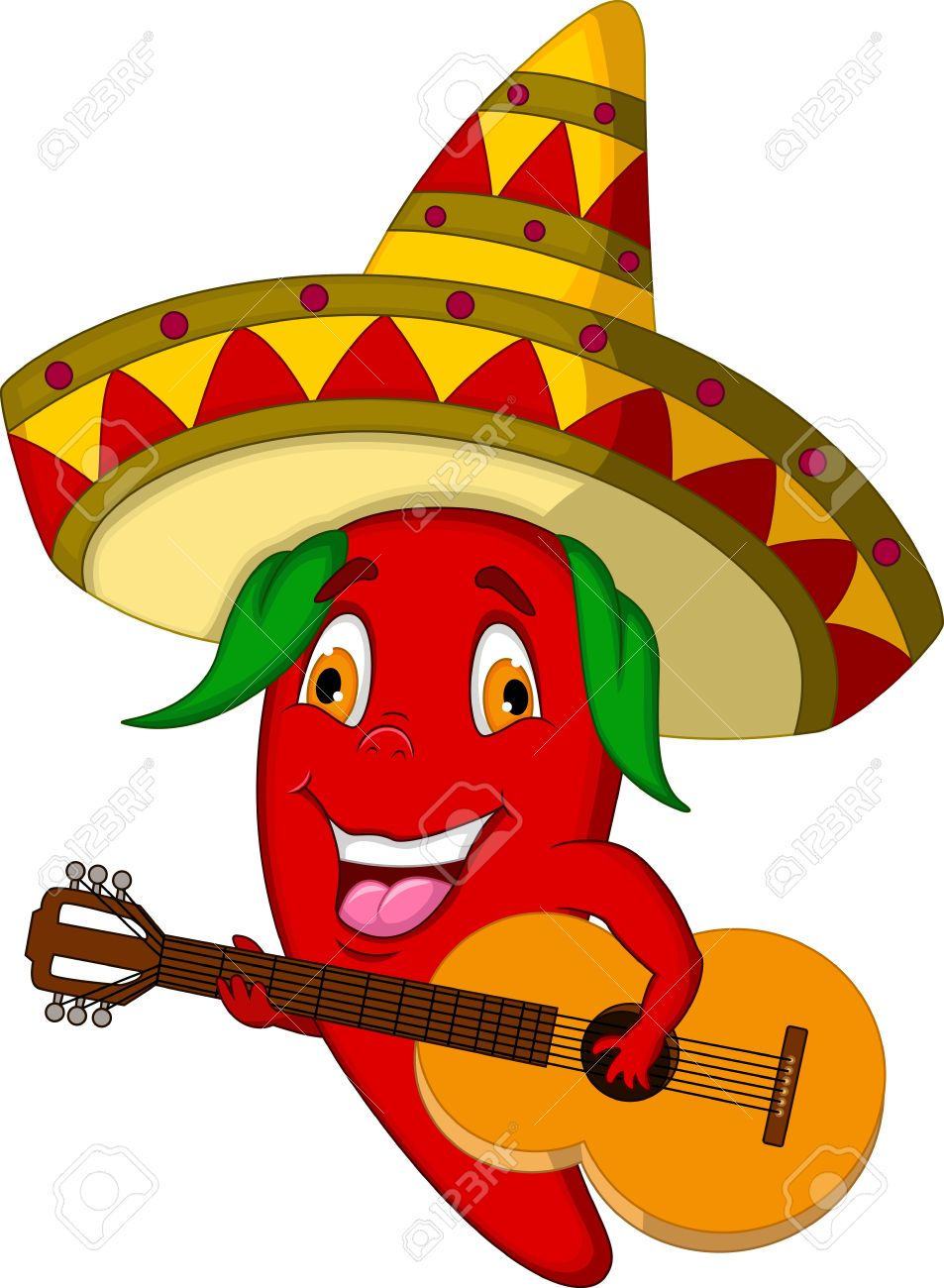 953x1300 Red Chili Pepper Cartoon Character With Mexican Hat And Mustache