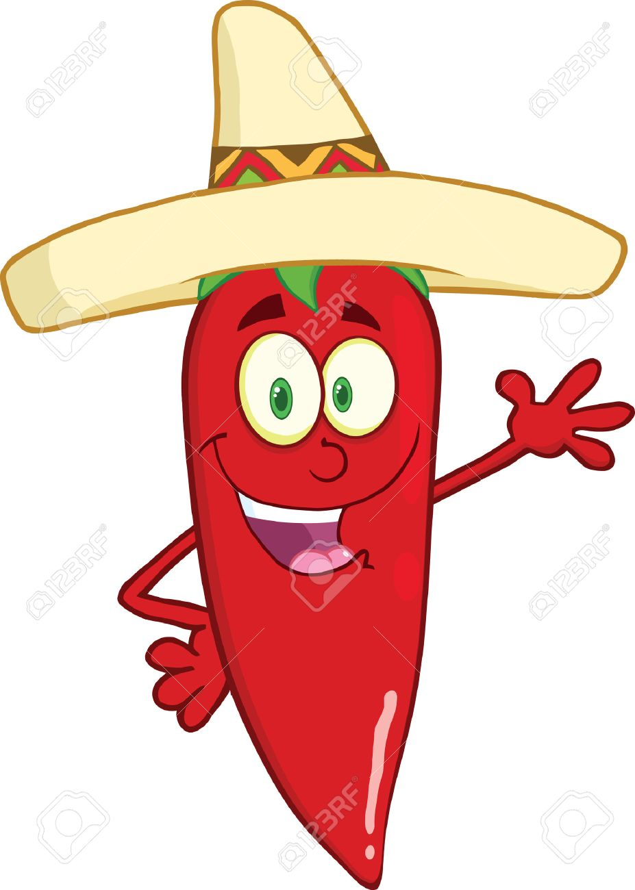 927x1300 Smiling Red Chili Pepper Cartoon Character With Mexican Hat Waving