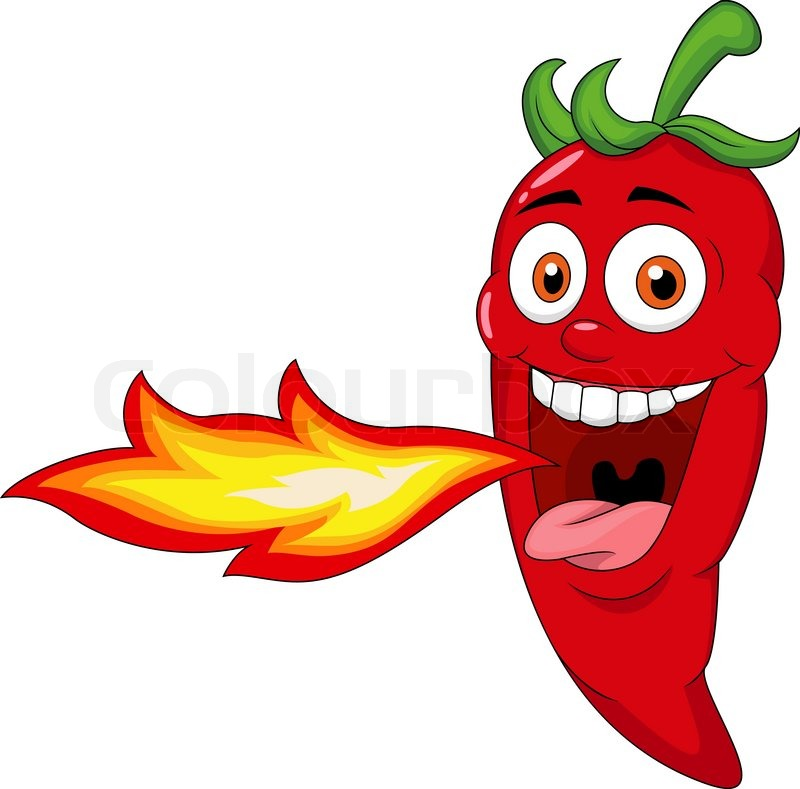 800x789 Vector Illustration Of Chili Cartoon Character Breathing Fire