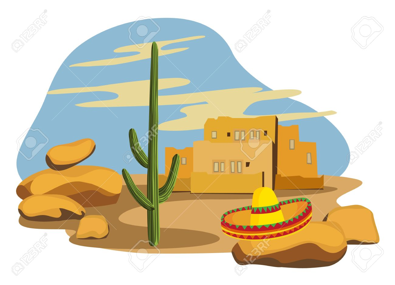 1300x937 Village Clipart Mexican House