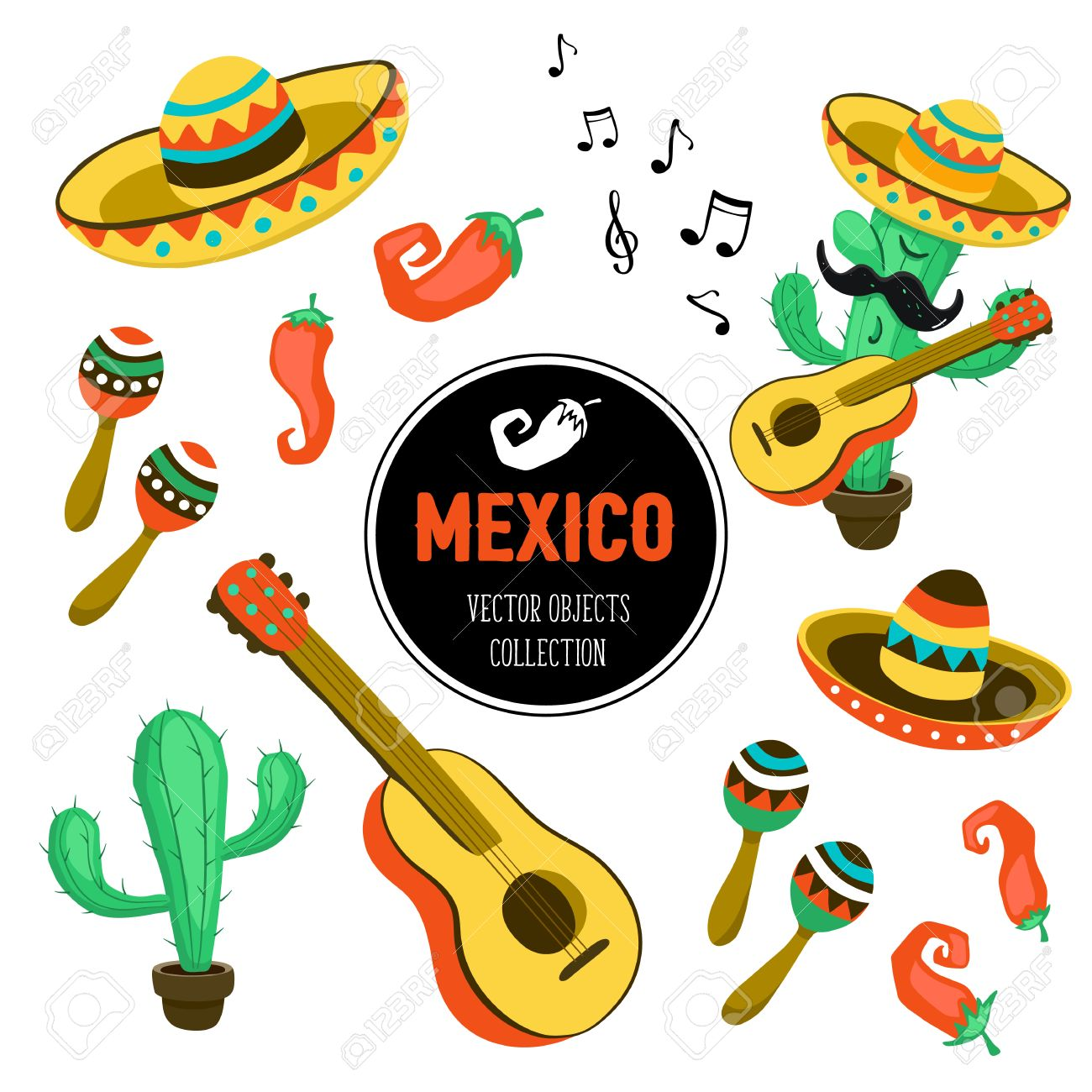 1300x1300 Mexican Culture Attributes Collection. Guitar, Sombrero, Maracas