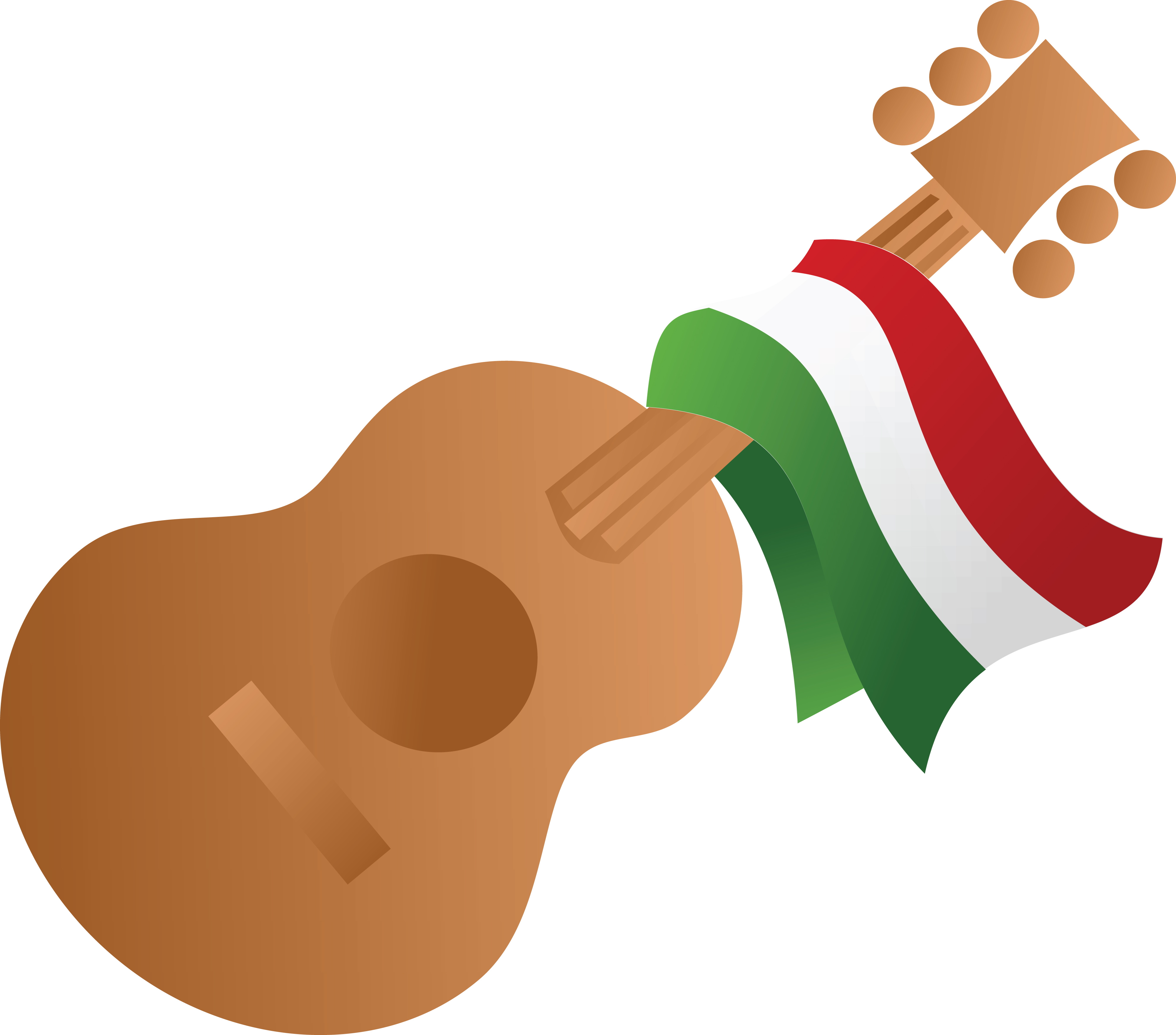 4000x3520 Clipart Of A Mexican Flag Draped On A Guitar