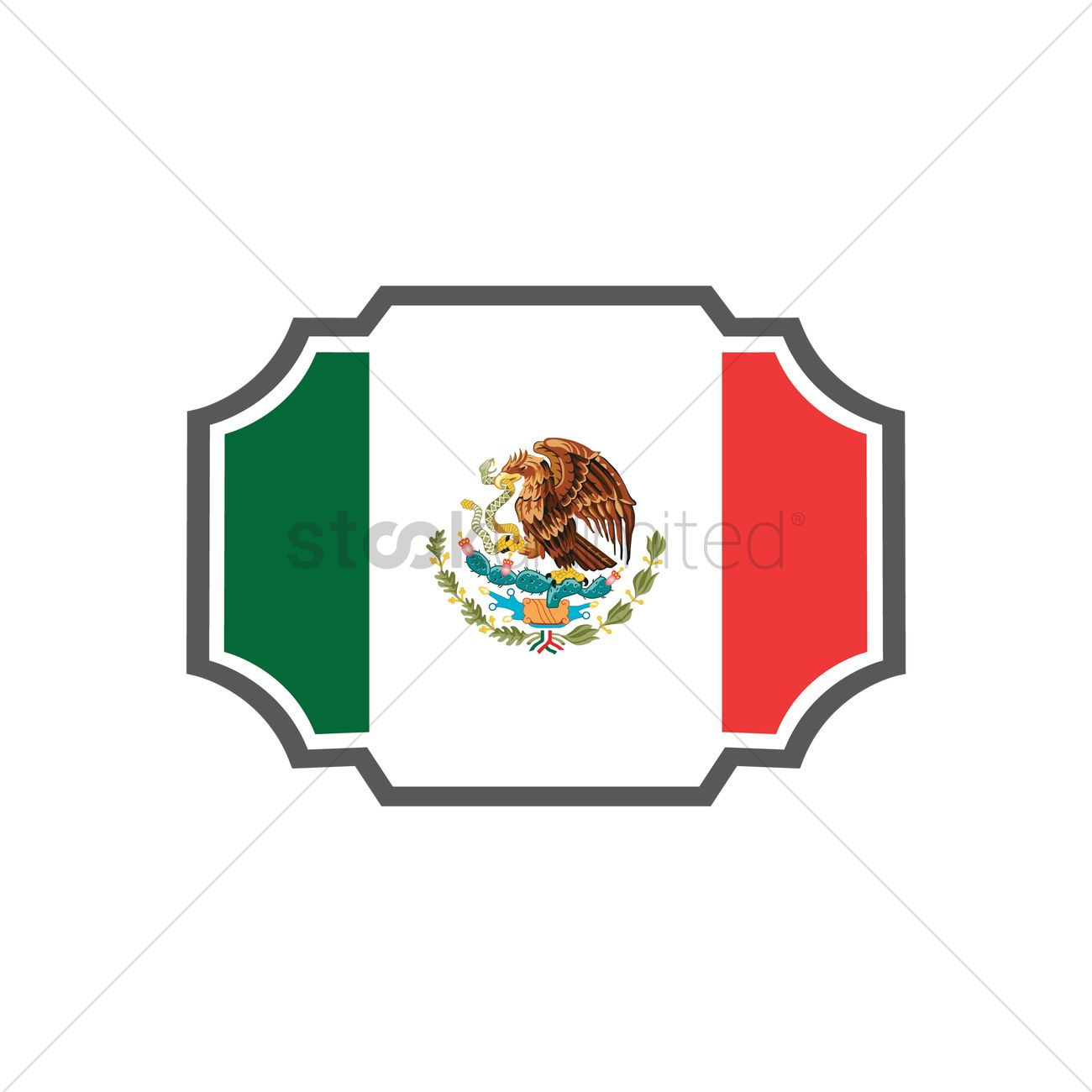 1300x1300 Mexican Flag Label Vector Image