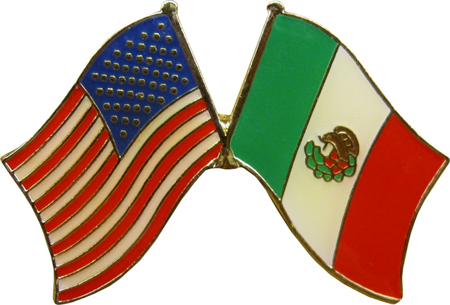 1500x1016 Crossed United States Of America Amp Mexico Flags Enamel