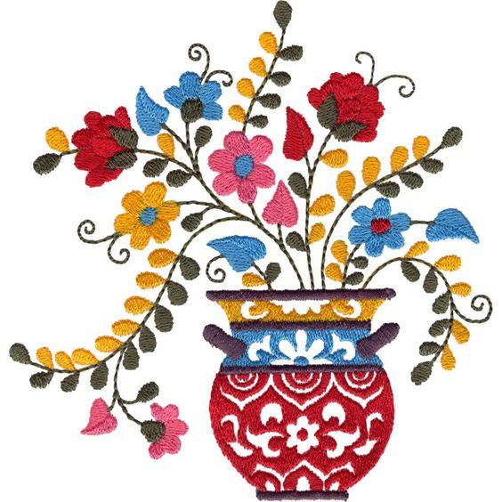 564x564 Mexican Flower Pot Embroidery Mexican Flowers