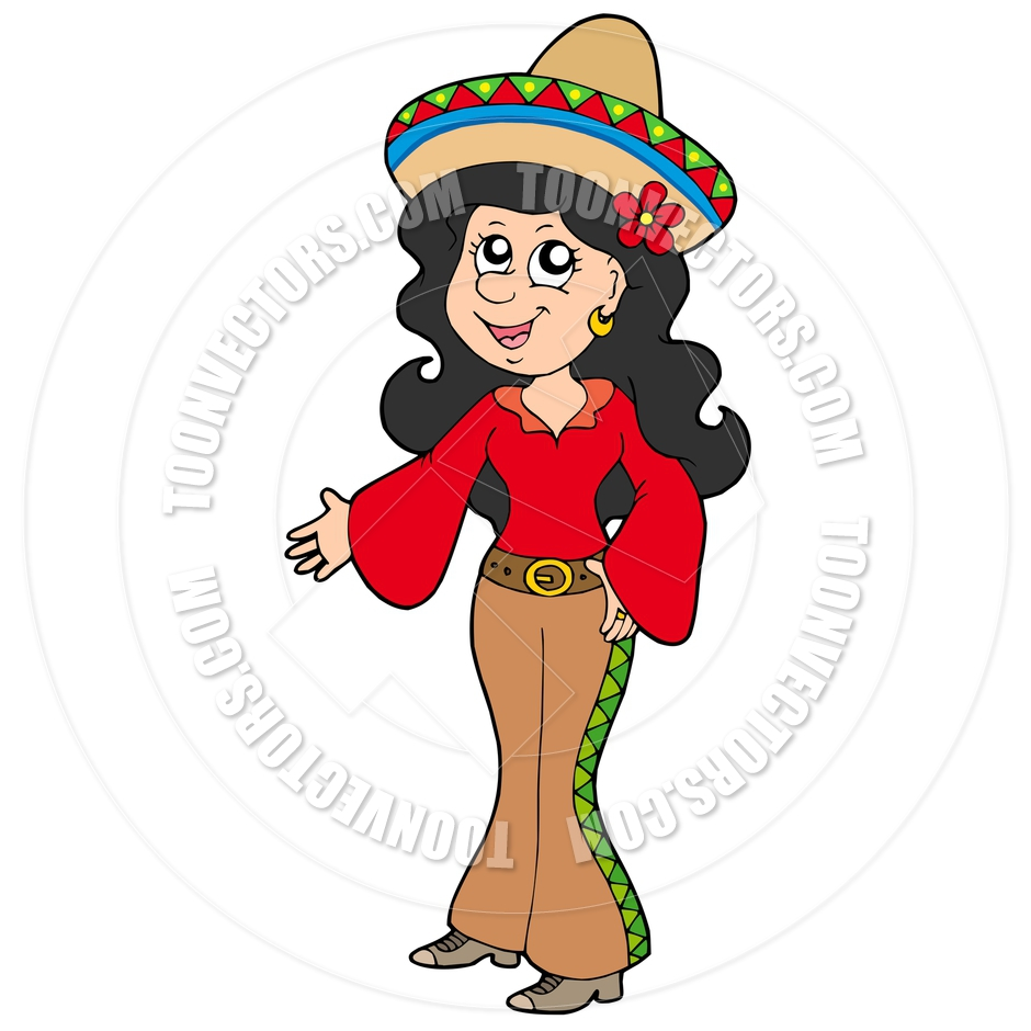 940x940 Cartoon Cute Mexican Girl By Clairev Toon Vectors Eps