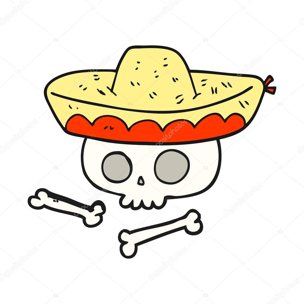 1024x1024 Cartoon Skull In Mexican Hat Stock Vector Lineartestpilot