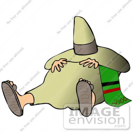 450x450 Clip Art Graphic Of A Mexican Man Wearing Sandals, Taking