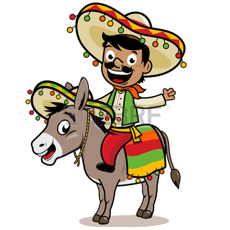 450x450 Mexican Man Riding A Donkey Royalty Free Cliparts, Vectors,