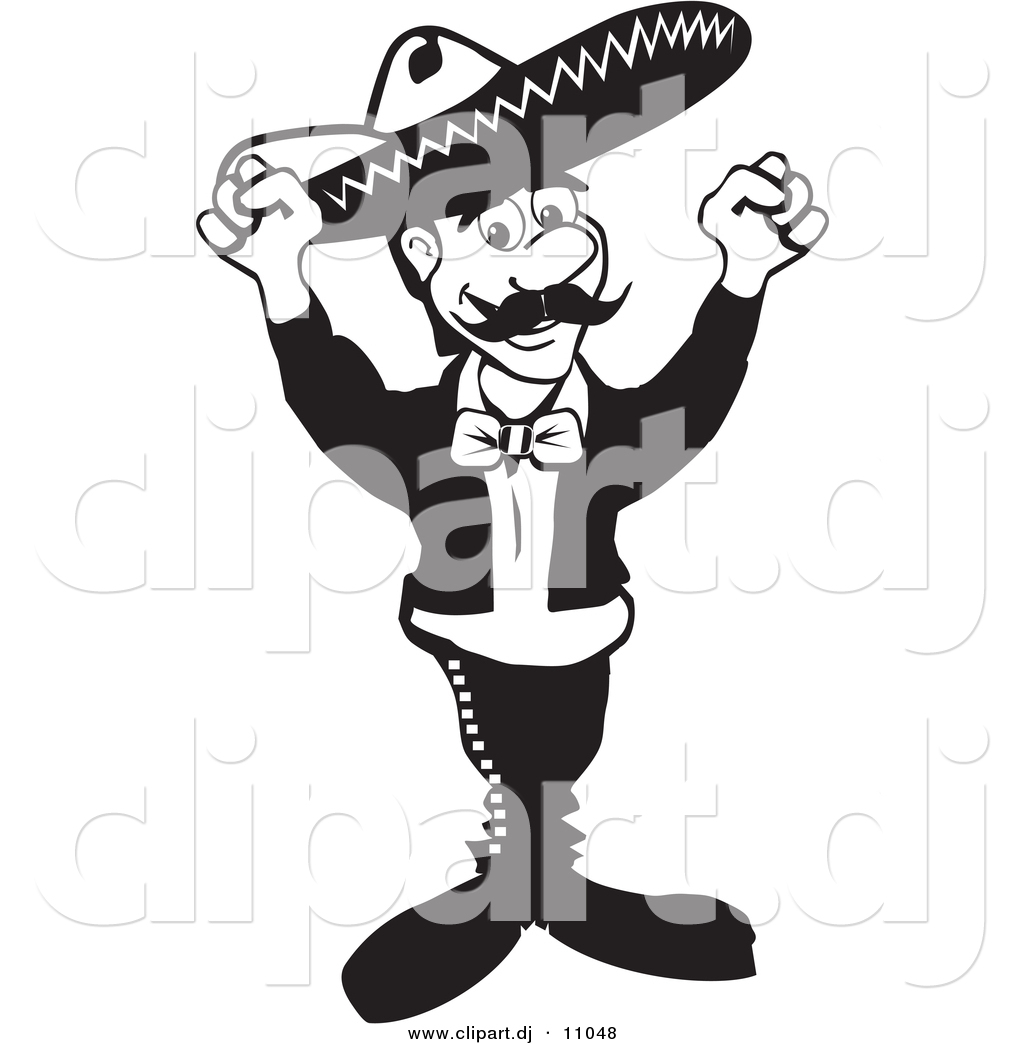 1024x1044 Vector Clipart Of A Mexican Mariachi Man Wearing A Sombrero While