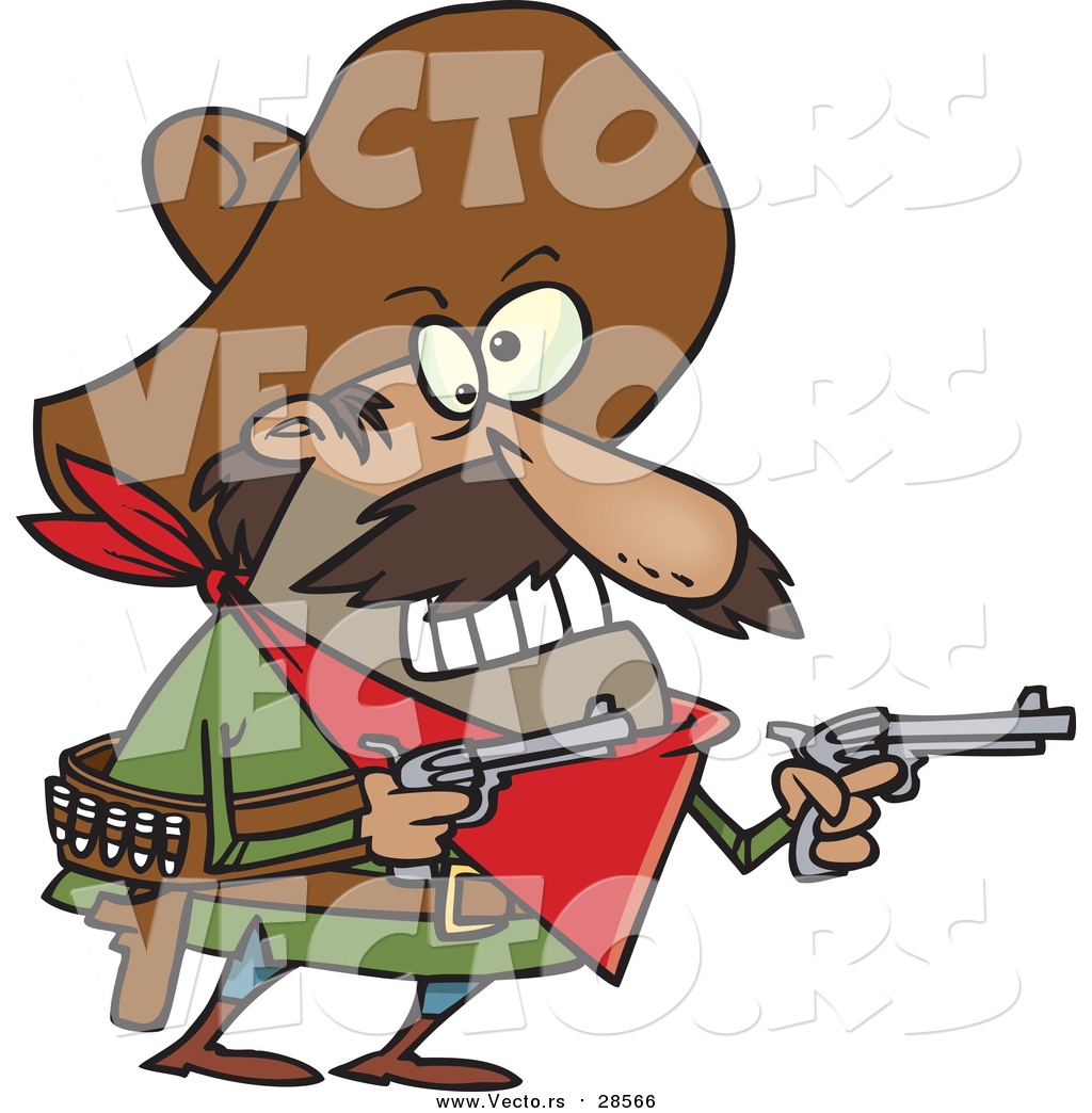 1024x1044 Vector Of A Cartoon Mexican Bandito Ready To Shoot Pistols By