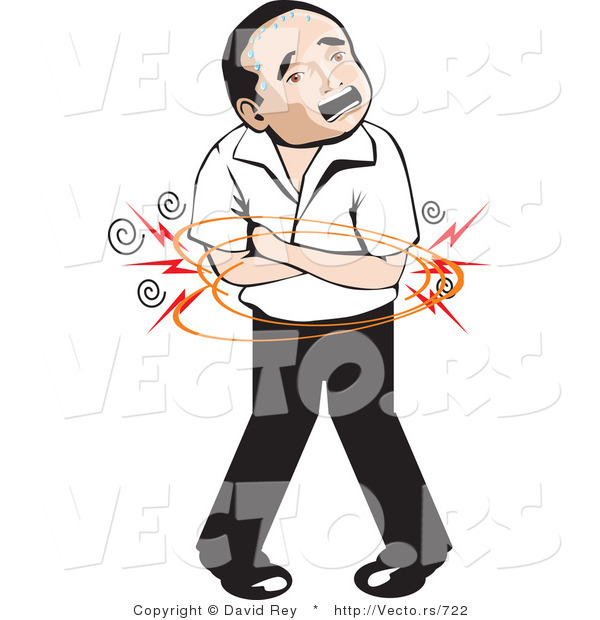 600x620 Vector Of A Mexican Man With Painful Stomach Ache By David Rey