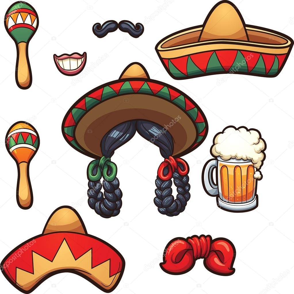 1022x1023 Mexican Party Props Stock Vector Memoangeles