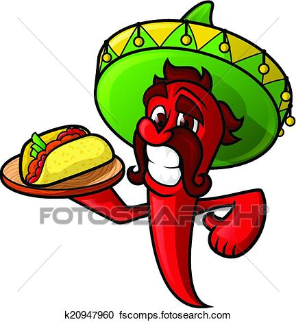 432x470 Clipart Of Mexican Pepper With Tacos K20947960