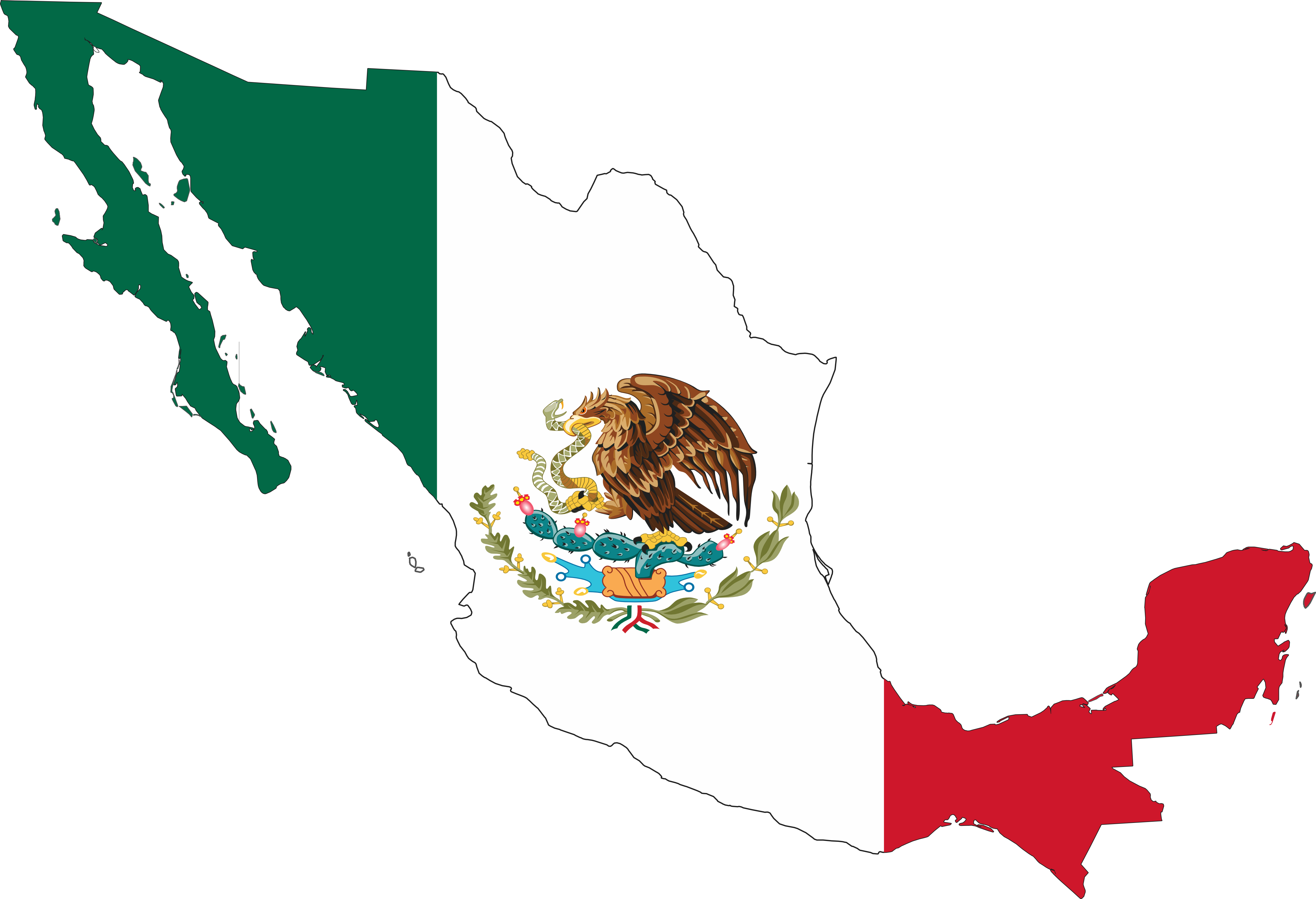 4444x3036 Free Mexican Flag Clipart Image