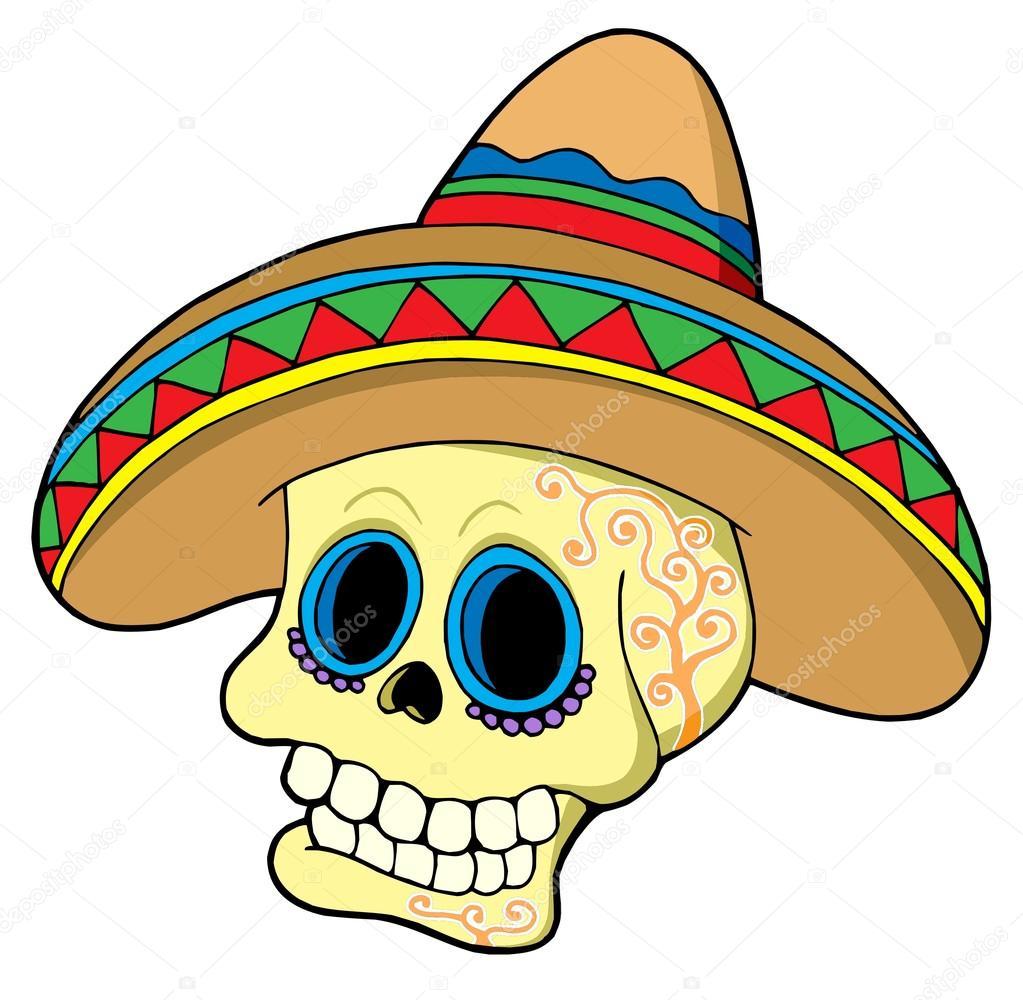 1023x1000 Mexican Skull In Sombrero Stock Vector Clairev