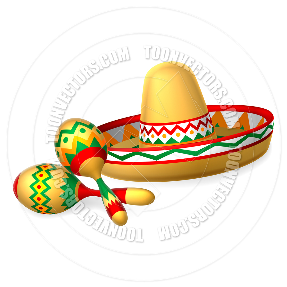 940x940 Mexican Sombrero Hat And Maracas Shakers By Geoimages Toon