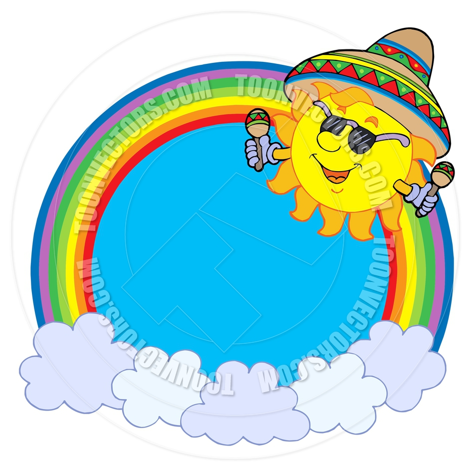 940x940 Cartoon Rainbow Circle With Mexican Sun By Clairev Toon Vectors