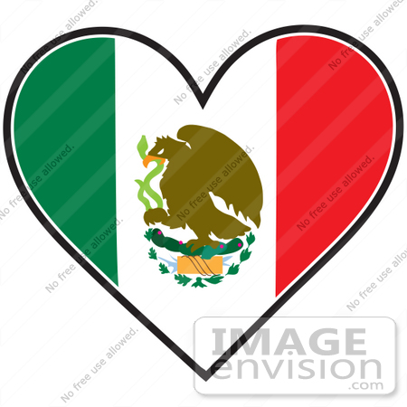 450x450 Clip Art Graphic Of A Mexican Heart Flag