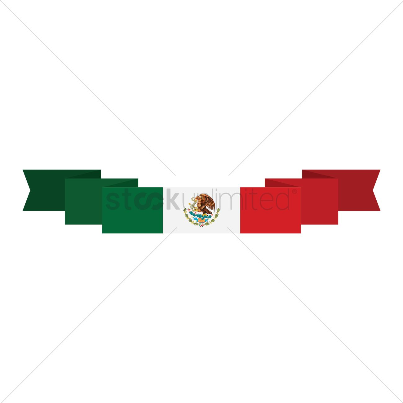 1300x1300 Mexican Flag Banner Vector Image