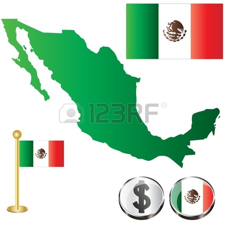 450x450 Vector Of Mexican Map With Flag And Mayan Pattern Isolated